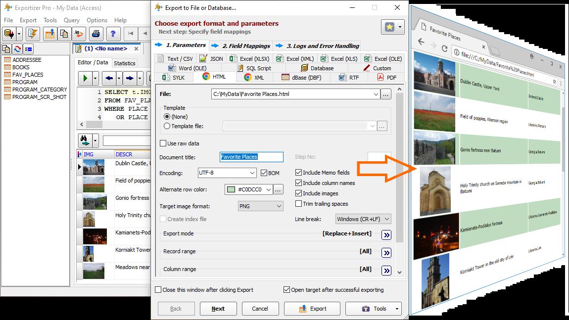 Database Export in Screenshots - Exportizer